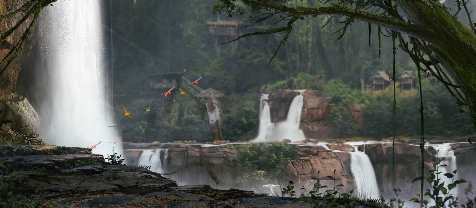 Eloden background. Lush forest with waterfall. Rope bridges span a canyon and primitive structures hide amoung the trees.