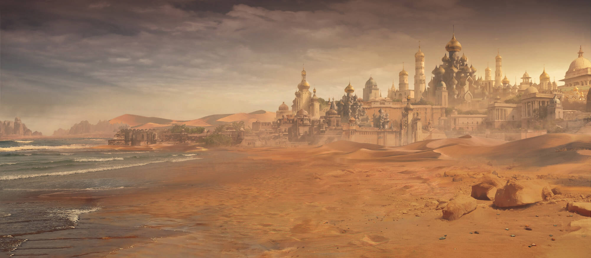 Kynazarr background slides into view behind the king. Middle-eastern fantasy city in a desert at the edge of the sea.