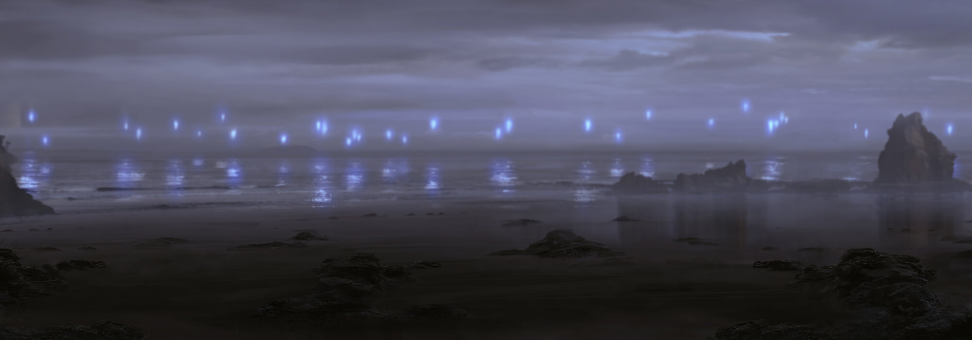 A haunting dark beach with ghostly blue fire floating over the water