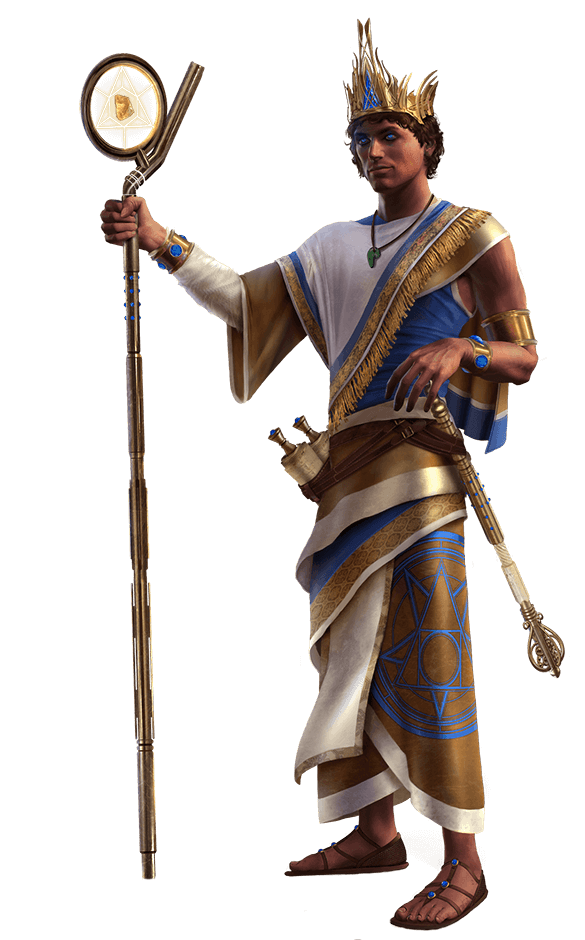High King Apsu, with septer. Dressed in white, blue, and gold robe, wearing sandals. Eygptian inspired.