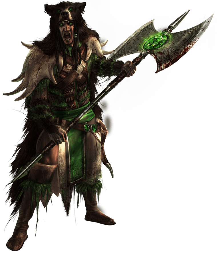 King Briar with his battle-ax which glows green with the power of Egis. Briar wears a bear cloak and furs mixed with woven grass.