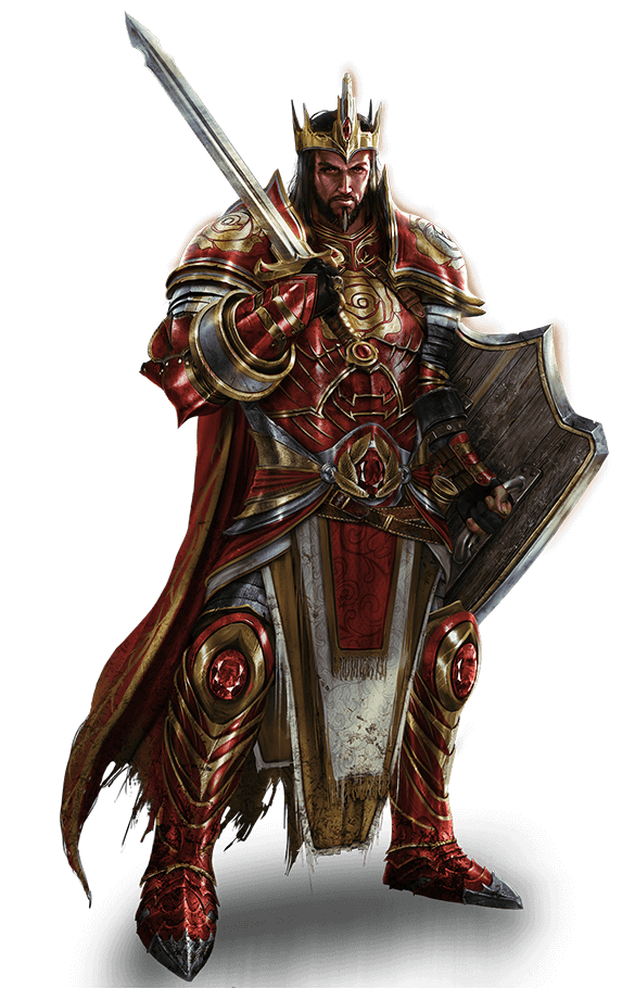 King Dlone Kynazarr in red and gold armor with sword and shield. Has facial hair.