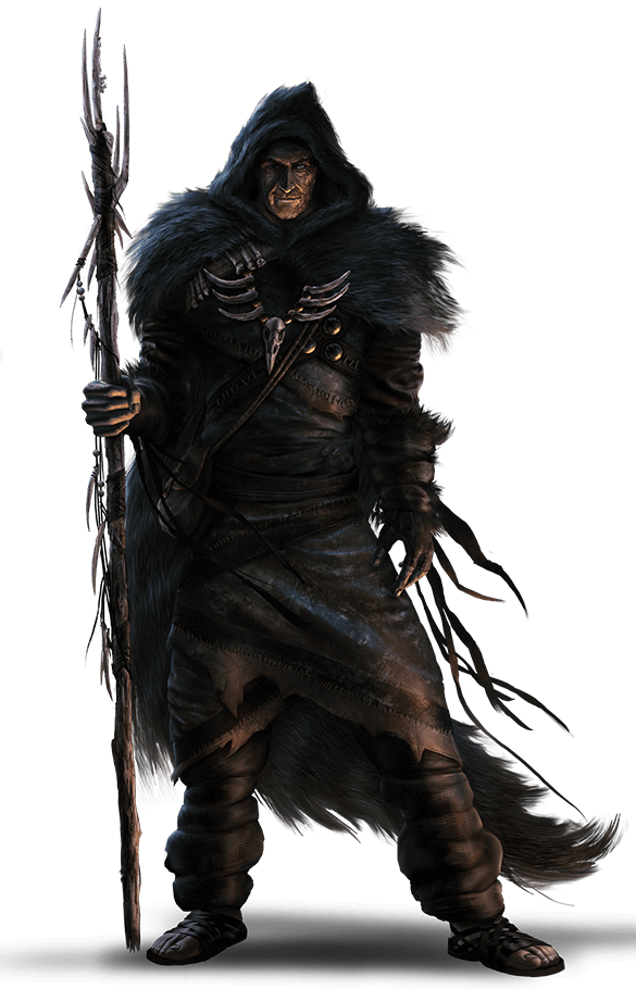 Khadrius, is dressed in black with a hood of shrouded darkness. He has bones on his chest armor. The outfit uses black fur or feathers. He carries a spike staff.