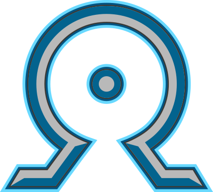The Omega Focus. Blue and Gray greek omega symbol
